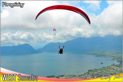 paragliding puncak lawang maninjau lake west sumatra indonesia